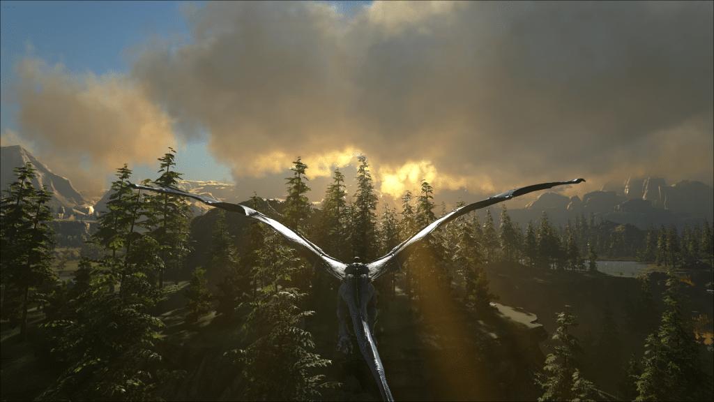 A lightning Wyvern in flight on Ark: Valguero