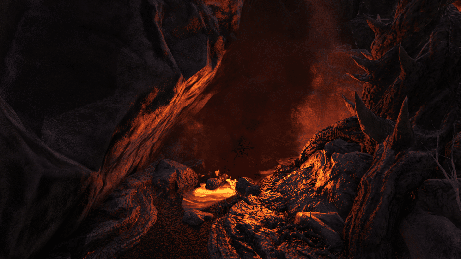 A magma river in the Volcano Biome on Ark: Genesis