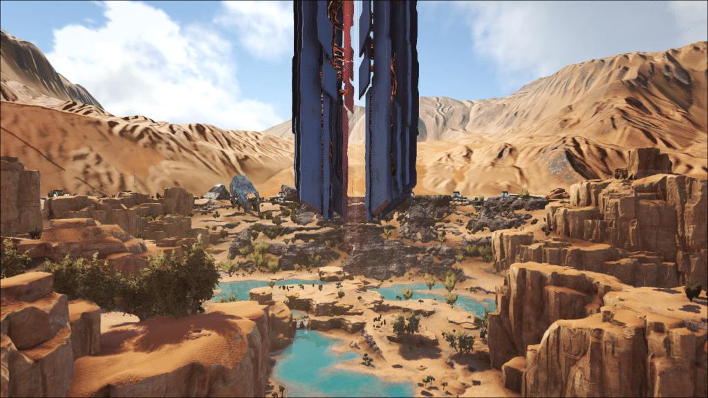 The obelisk in the Desert Biome on Ark: Extinction