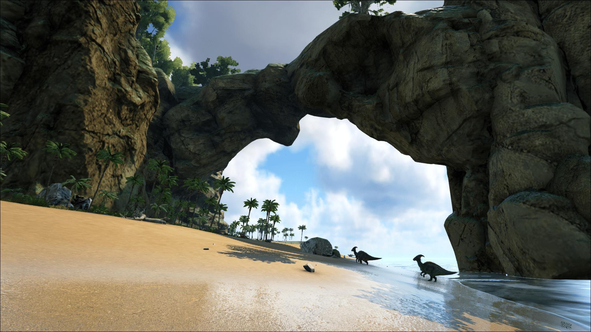 Looking down the beach on Ark: Ragnarok