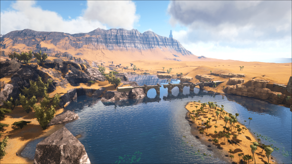 A beautiful river delta leading to the Desert Temple on Ark: Ragnarok