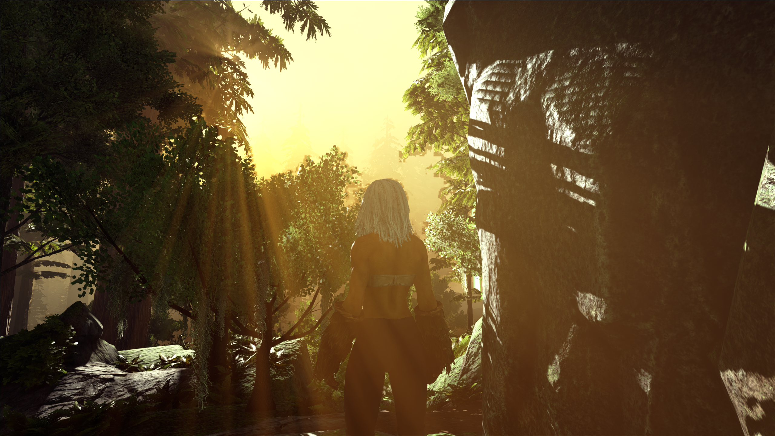 Looking out from the Redwood Cave on Ark: The Island