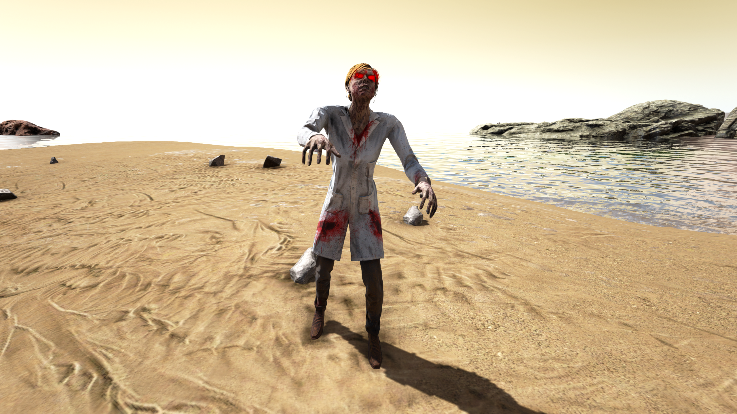 A zombie scientist roams the beach
