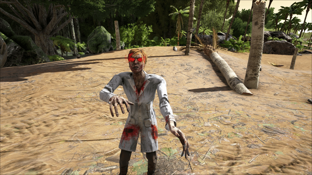A Scientist zombie getting too friendly