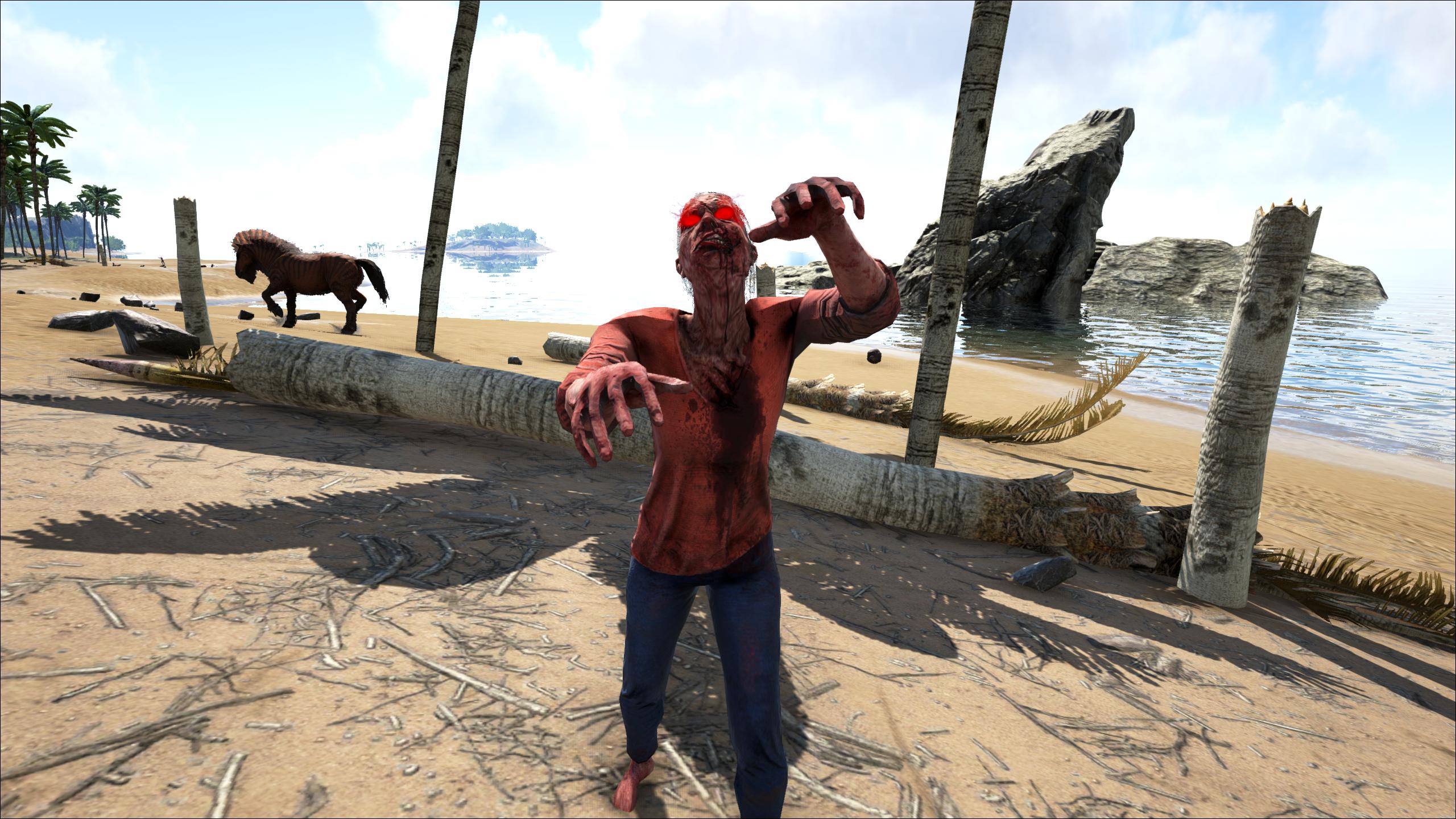 A zombie Walkers strolls down the beach