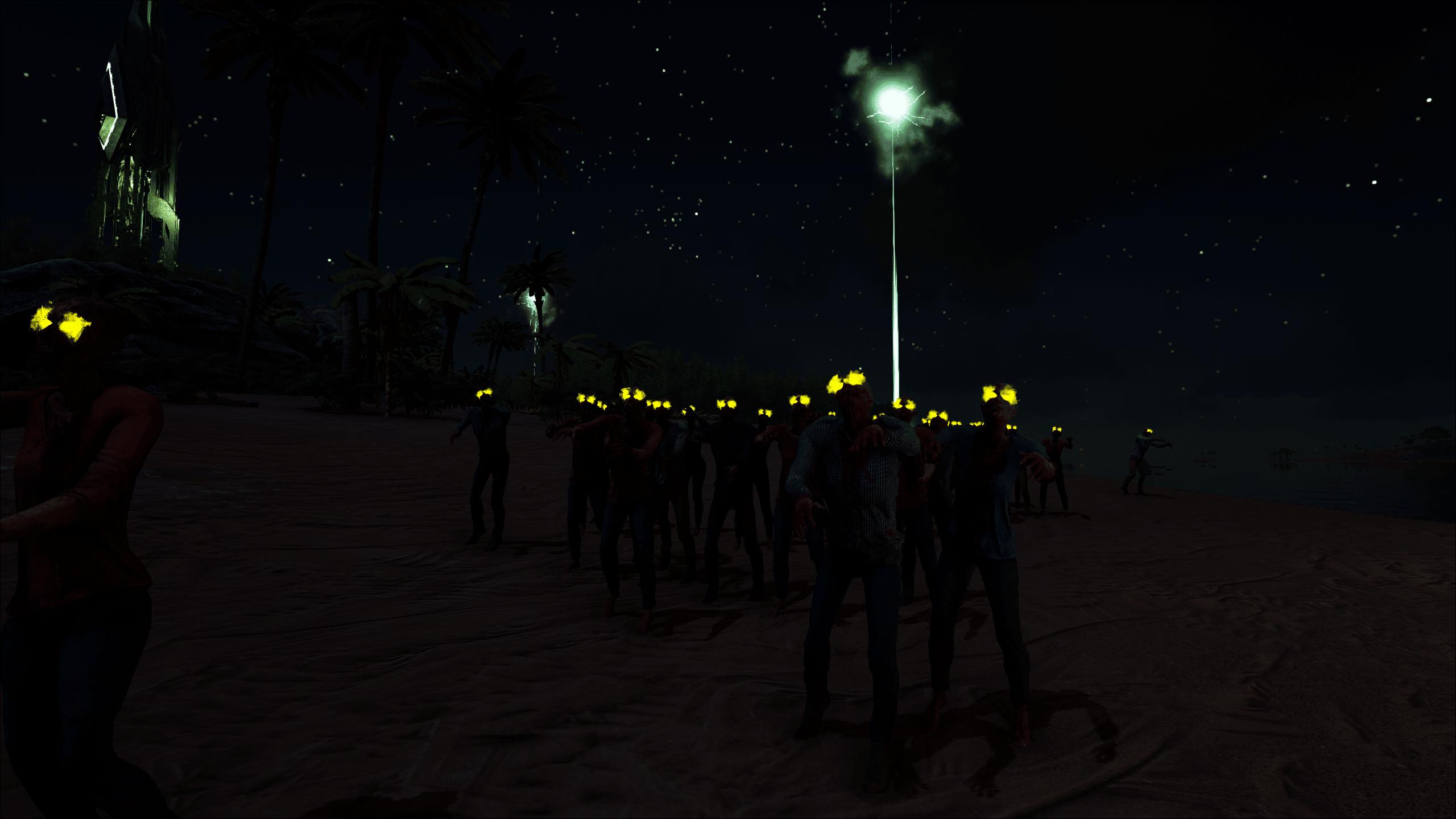 A large horde shambles down the beach