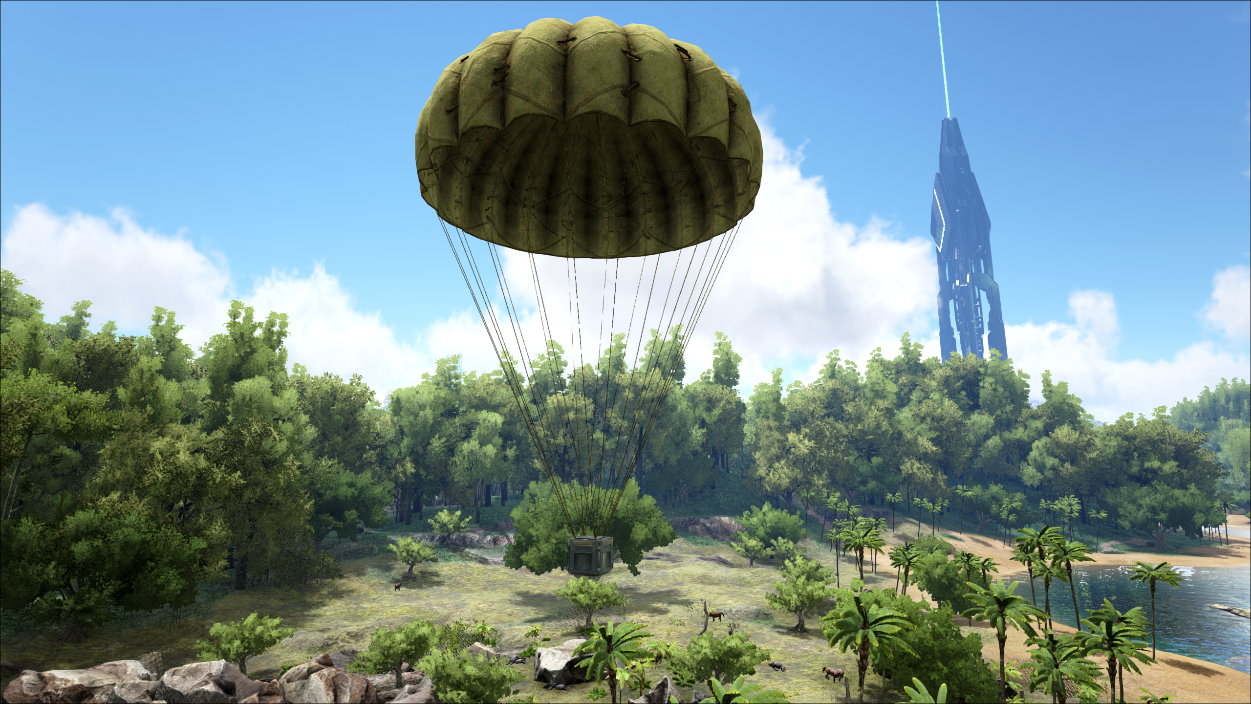Supply crate being dropped by parachute