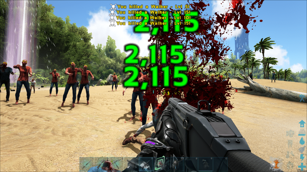 Zombie horde attack is held back by Assult Rifle fire
