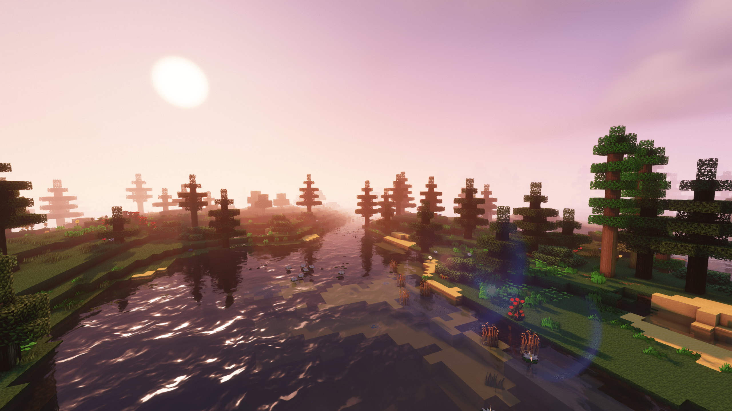 Minecraft Enigmatica 2: Sunrise Over a Lake