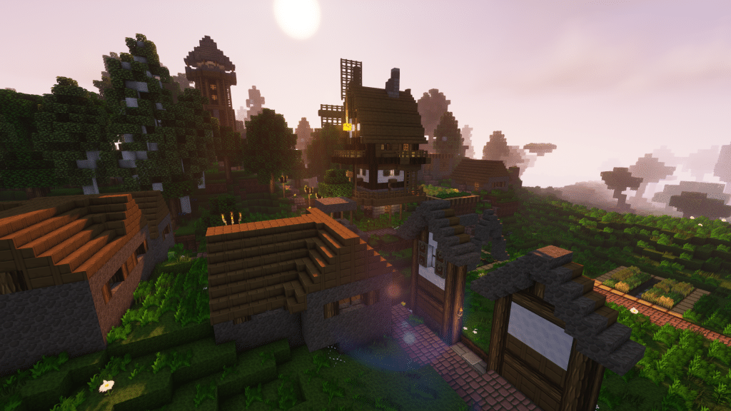 Minecraft Enigmatica 2: Looking Out Over a Village