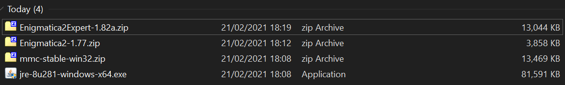 Minecraft Enigmatica 2: Downloaded Files