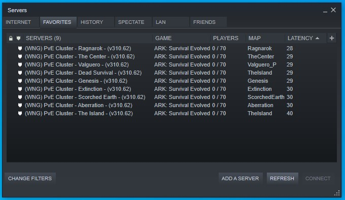 Your favourite server list on Steam